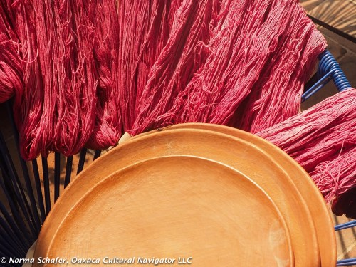 Cochineal dyed wool, ready for the weaver's loom