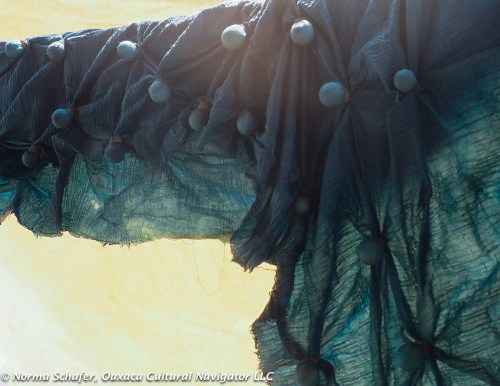 Rhiannon's blue shibori scarf dries on the clothesline