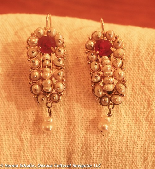 #2. Gusano style 10K Gold filigree earrings with pearls and cut red glass. $325 USD