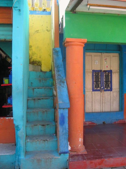 Pauline Hastings. Colourful stairway on Isla Mujeres