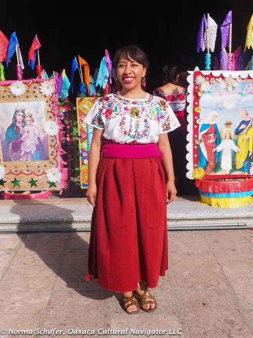 Janet Chavez Santiago in front of Teotitlan's church