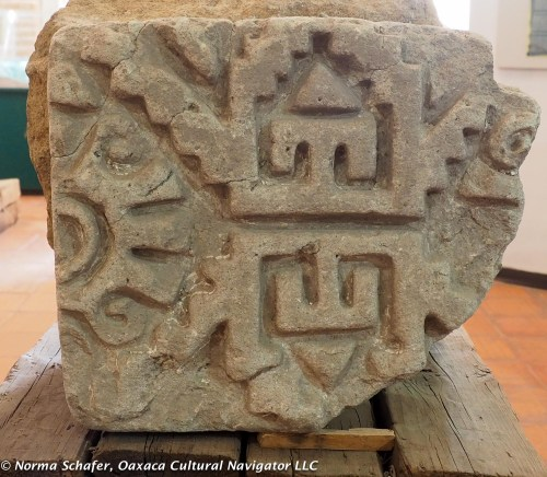 Ancient Zapotec temple stone, Teotitlan del Valle Community Museum
