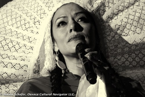Lila Downs in concert, Oaxaca, Mexico. Post-processing with Silver Efex