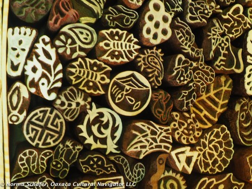 Wood carved stamps used for block printing at Nature Bazaar