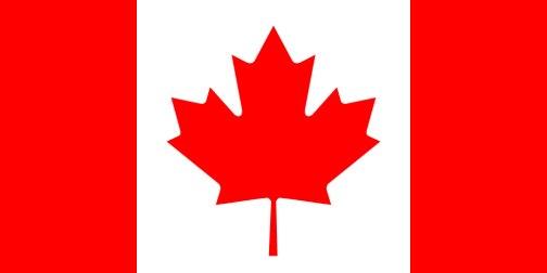 カナダ国旗は左右対称のように見えます。