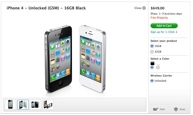 Apple Store factory unlocked iPhone 4 16GB 32GB | Obama Pacman