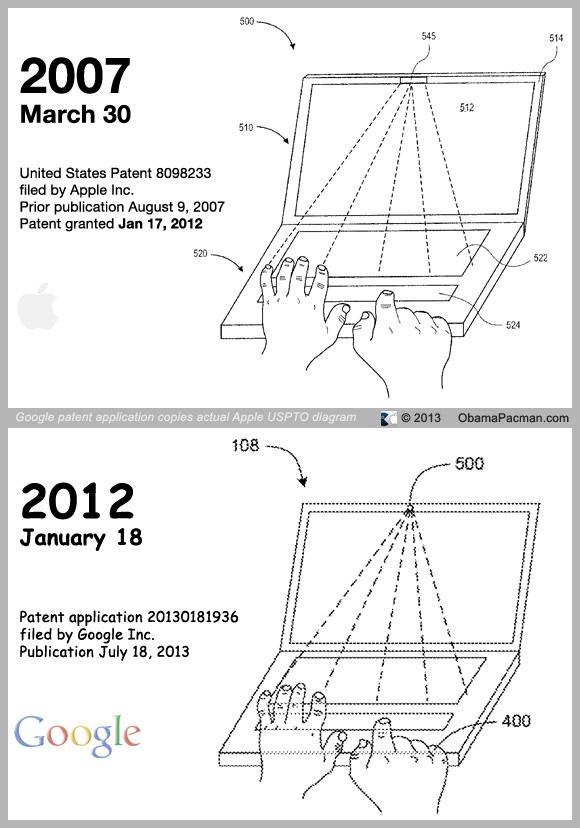 2012 Google patent application copies 2007 Apple USPTO