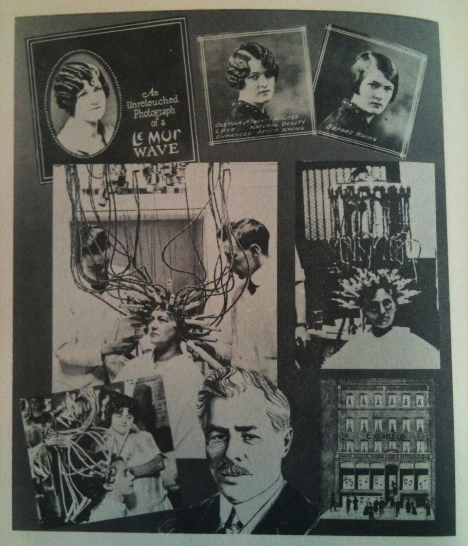 """"""" Quando o inventor da máquina de ondulação permanente, Charles Nestle, anunciou a abertura de seu salão de beleza em Nova York, sessenta e duas mulheres responderam. Sessenta e um foi embora sem o permanente, assustado ou pelo aparelho acenando em si (apesar de ter sido garantido à prova de choque) ou o preço. Mas uma mulher ficou e este foi o início do sucesso americano da Nestlé. Em 1919 a Nestlé permanente fazia parte do regime de beleza de muitas mulheres """" (Campbell, após a página 112)."""