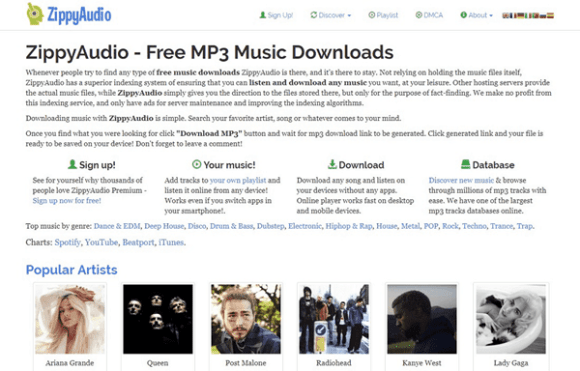ZippyAudio is one of the best free music download sites like MP3BOO.