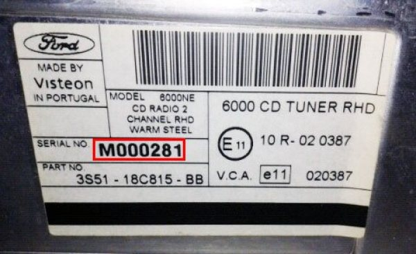 ford radio code m serial