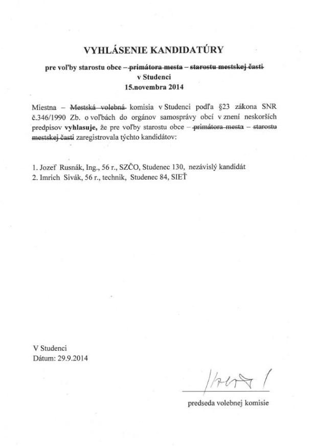 Vyhlásenie kandidatúry na starostu obce