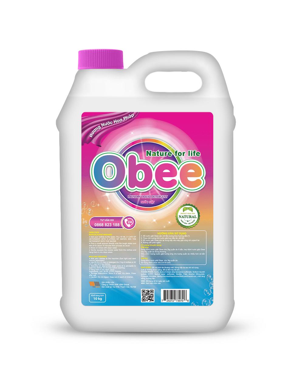 Nước giặt Obee hương nước hoa Pháp 10 kg