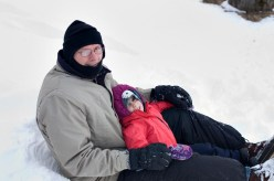 """""""Who wants to sled down the big hill in the yard?"""" Not skipping a beat....Evelyn yells....""""ME!"""""""