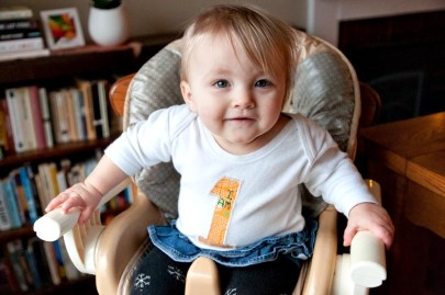 Thursday: Her actual birthday. Happy Birthday, Dear Claire! Thanks for the onesie, Auntie Debbie!