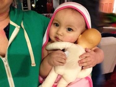 Loves her new doll, Nana Joan!