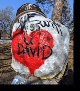 Oberlin College boulder memorializing David Gibson
