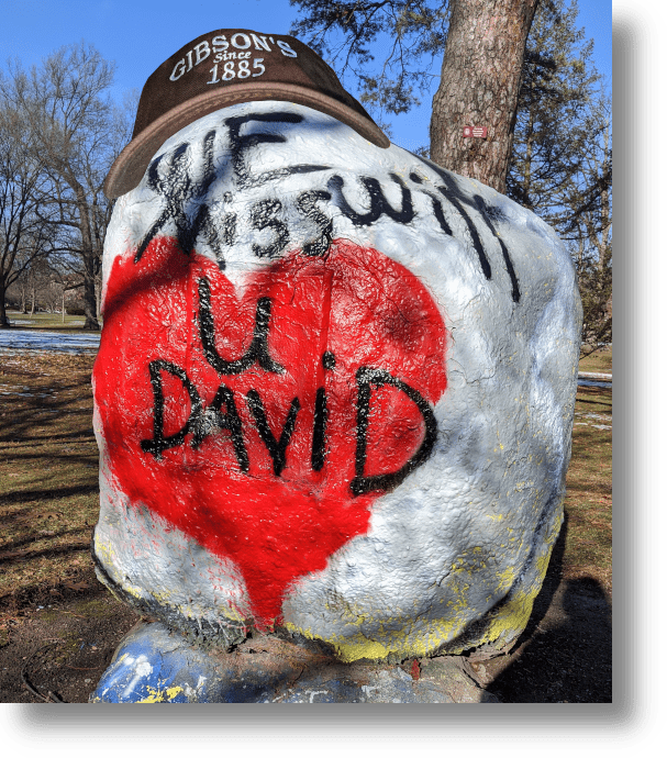 Oberlin College boulder memorializing David Gibson