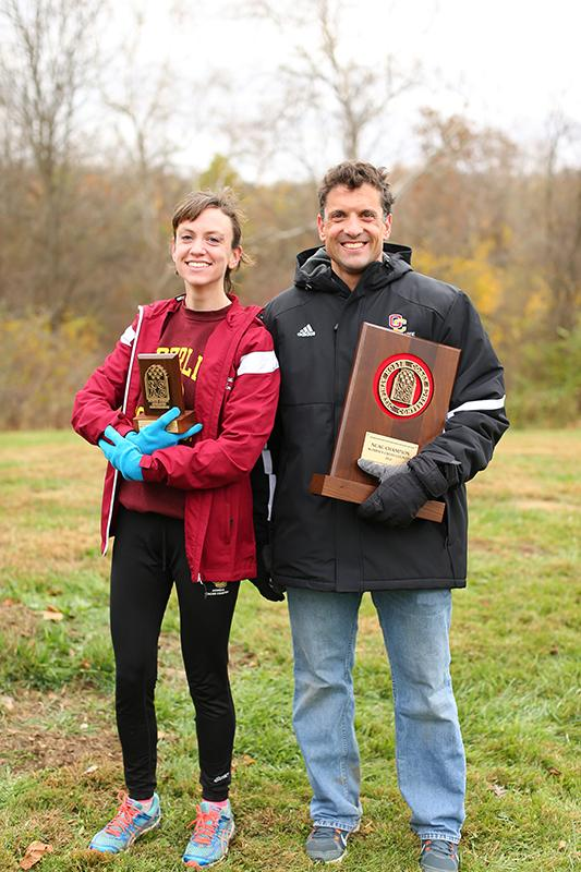 Senior+Emma+Lehmann+%28left%29+and+Cross+Country+Coach+Ray+Appenheimer%0Apose+for+a+picture+after+the+North+Coast+Athletic+Conference+championships.%0ALehmann+finished+first+in+the+6K+race.