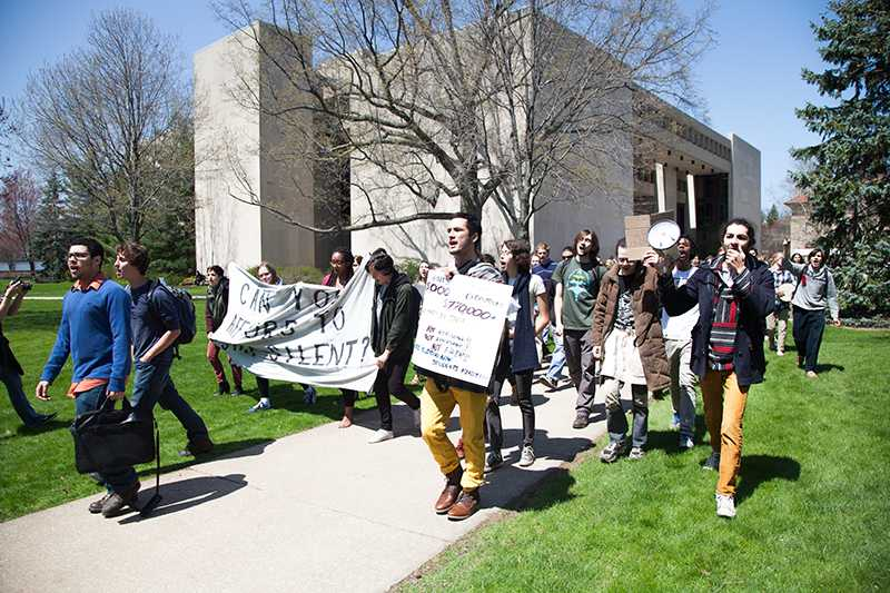 Protesters+call+for+financial+accessibility+as+they+march+across+Wilder+Bowl.+The+College+declined+the+students%E2%80%99+request+for+a+tuition+freeze.+