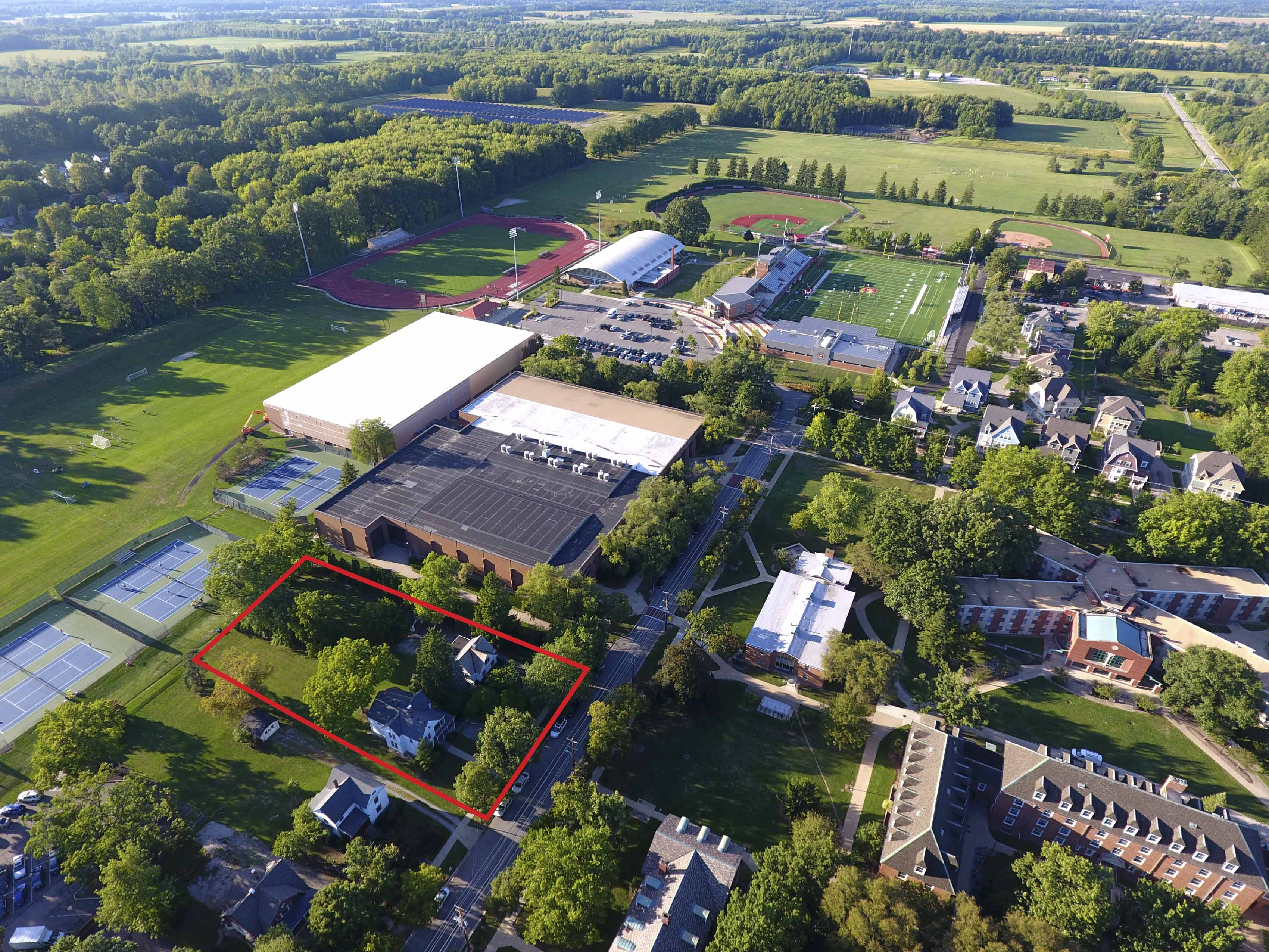 An aerial view of Philips gym and the surrounding area. The red box roughly delineates the location of the gym's planned expansion.