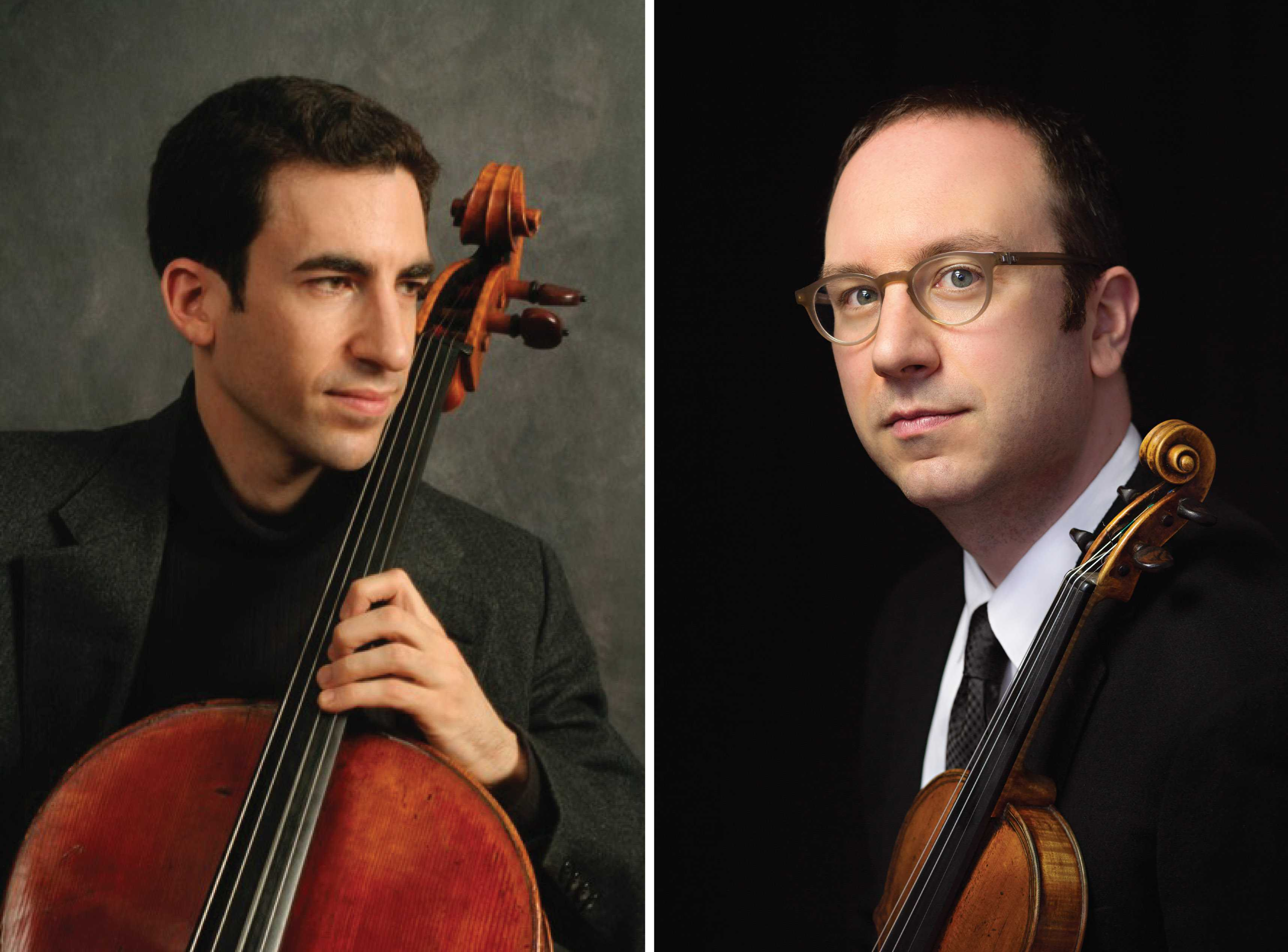 Conservatory professors Amir Eldan (left), cellist, and David Bowlin, OC '00, violinist, join director Rafael Jiménez and the Oberlin Orchestra for its first winter concert. They will both perform solos in Johannes Brahms' Concerto for Violin and Cello.