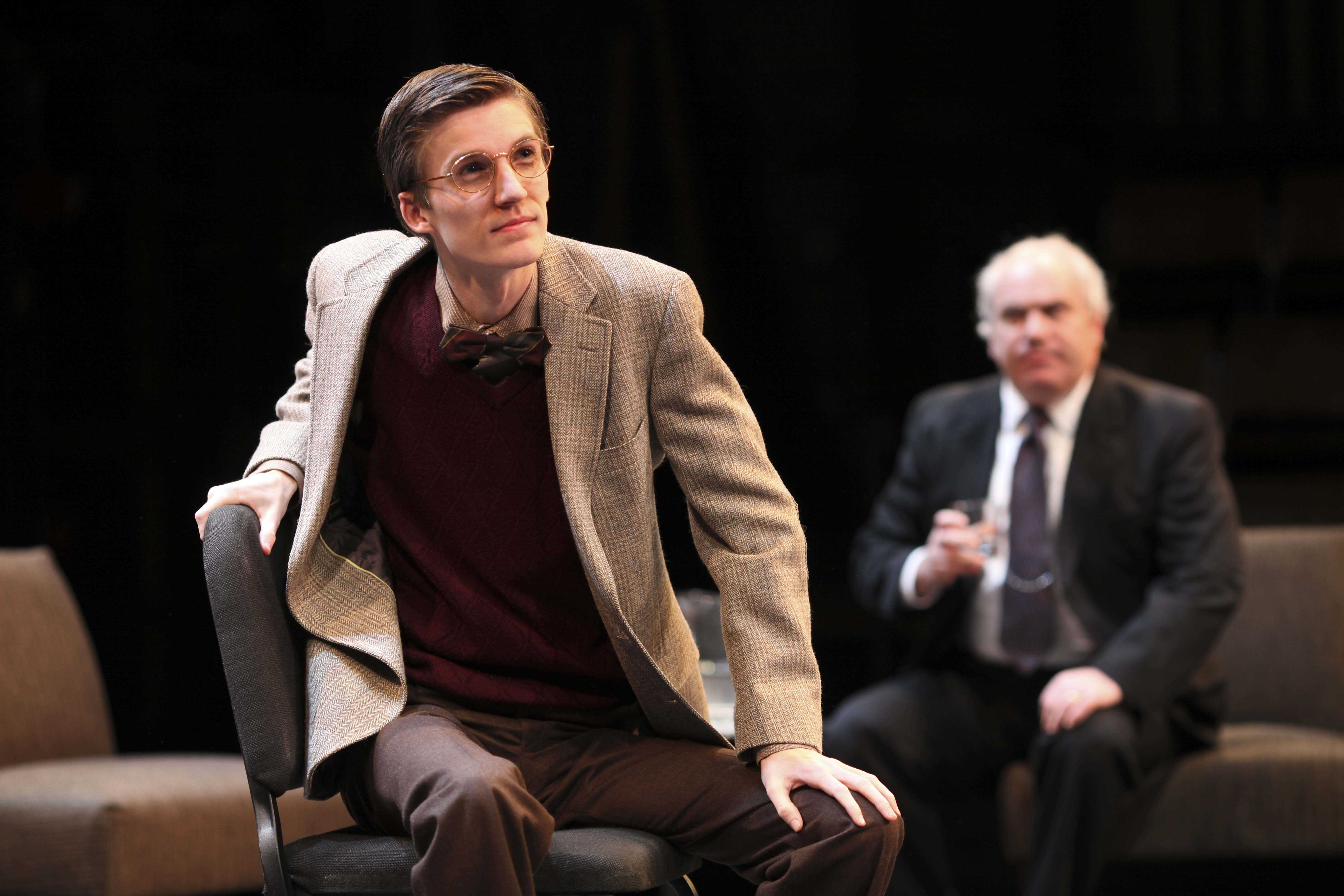 From left to right, College sophomore Brian Weaver and actor George Roth perform during Tuesday's dress rehearsal of Peter Sagal's Denial in Hall Auditorium.