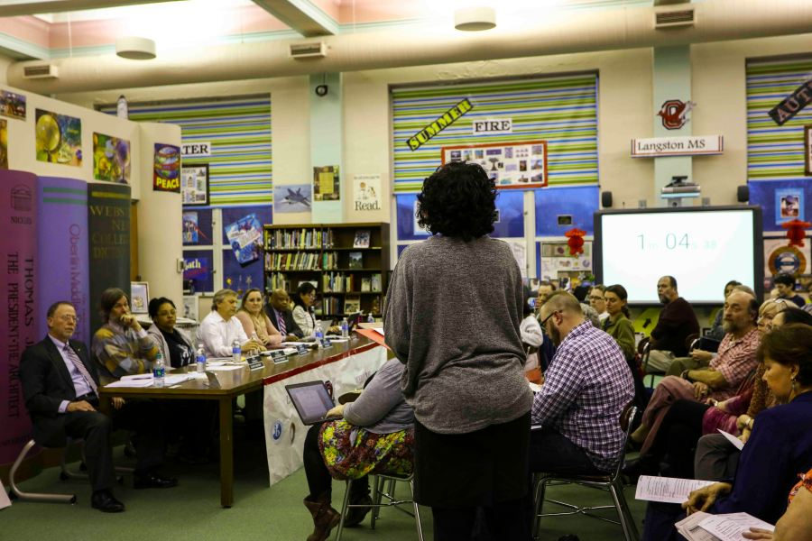 A+community+member+addresses+the+Oberlin+School+Board+Tuesday+evening+in%0ALangston+Middle+School.+Various+Lorain+Education+Board+members+urged+the%0Astate+to+reduce+the+number+of+required+standardized+tests.