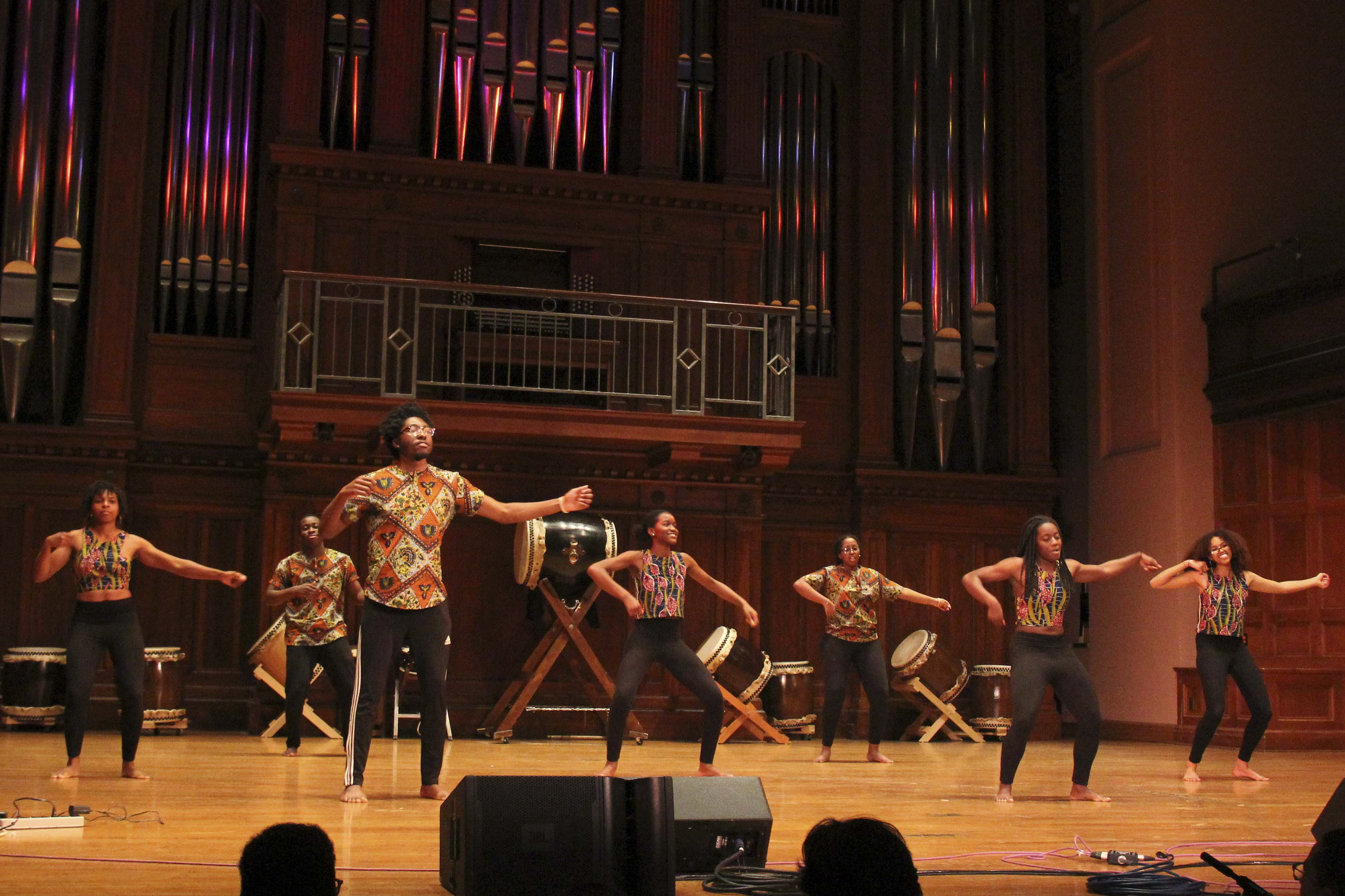 Students from ASA perform in Colors of Rhythm last Thursday, an annual showcase of artists and performers of color on campus organized by the Multicultural Resource Center.