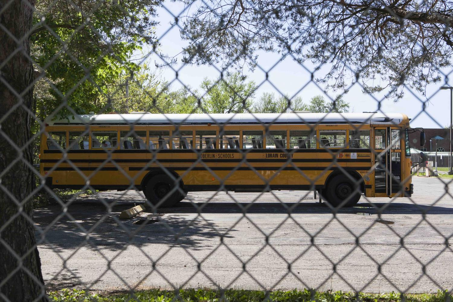 A bus parked outside of Langston Middle School. Local school parents accused the Oberlin School Board of spending an estimated excess of $1 million on school bus repairs over the past 10 years.