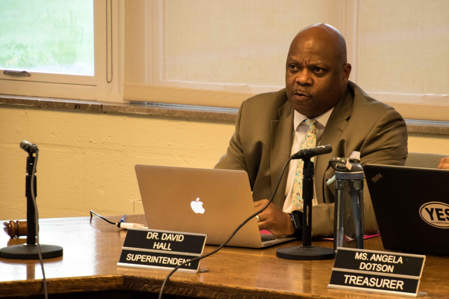Oberlin Superintendent David Hall at the most recent Board of Education meeting. There are currently six people running for three open positions on the Board of Education.