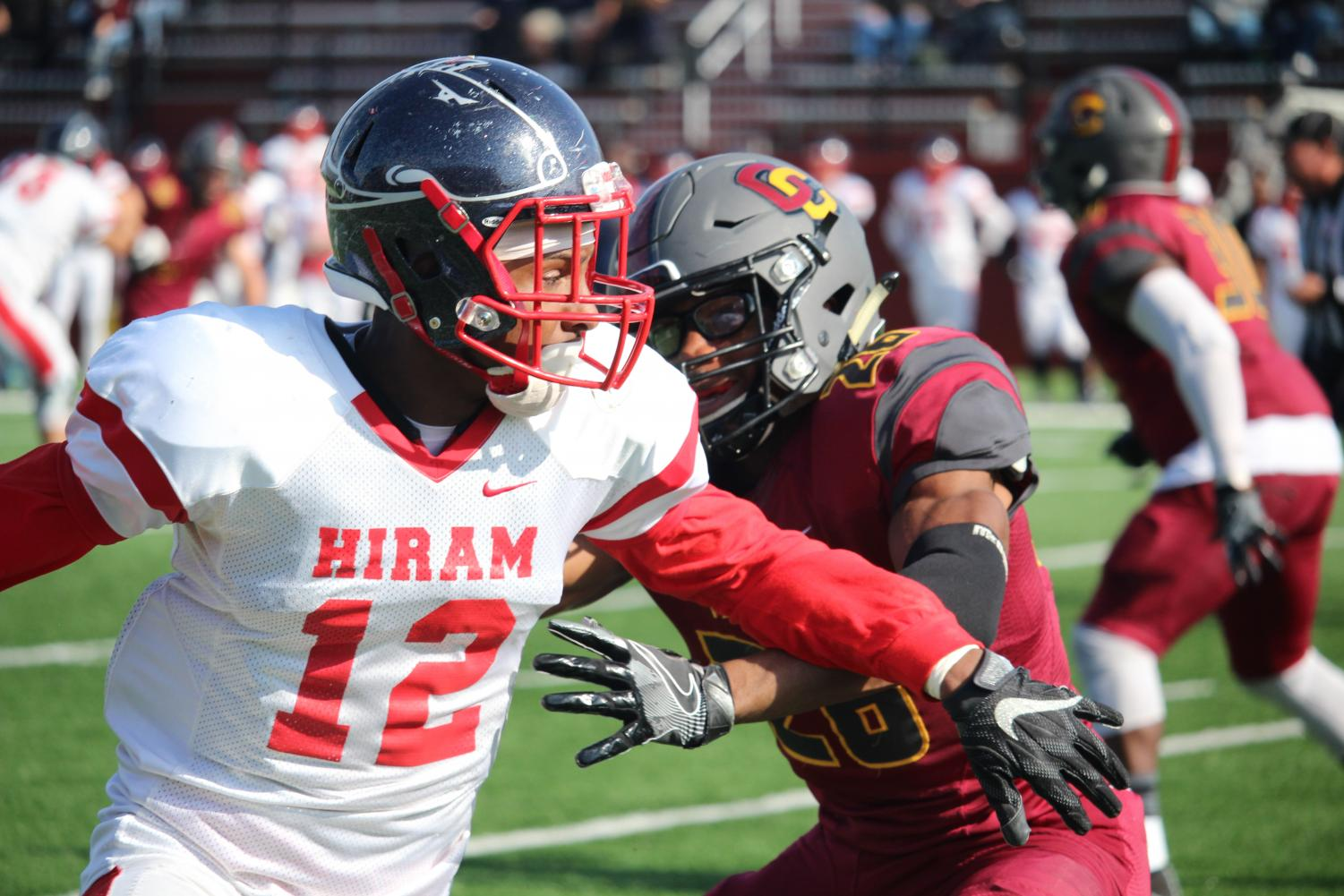 Sophomore defensive back Jubreel Hason plays tight coverage against the Hiram College Terriers receiver last Saturday in their 27–14 win