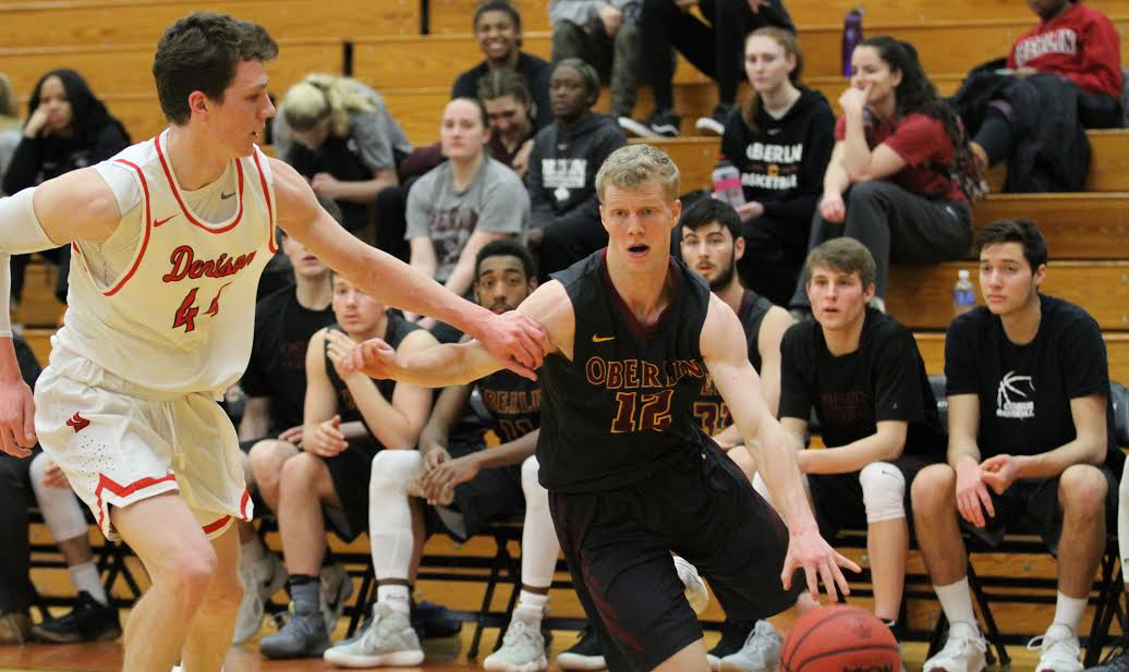 College sophomore guard Josh Friedkin drives the ball to the hoop in a 59–52 win against Denison University Jan. 24.