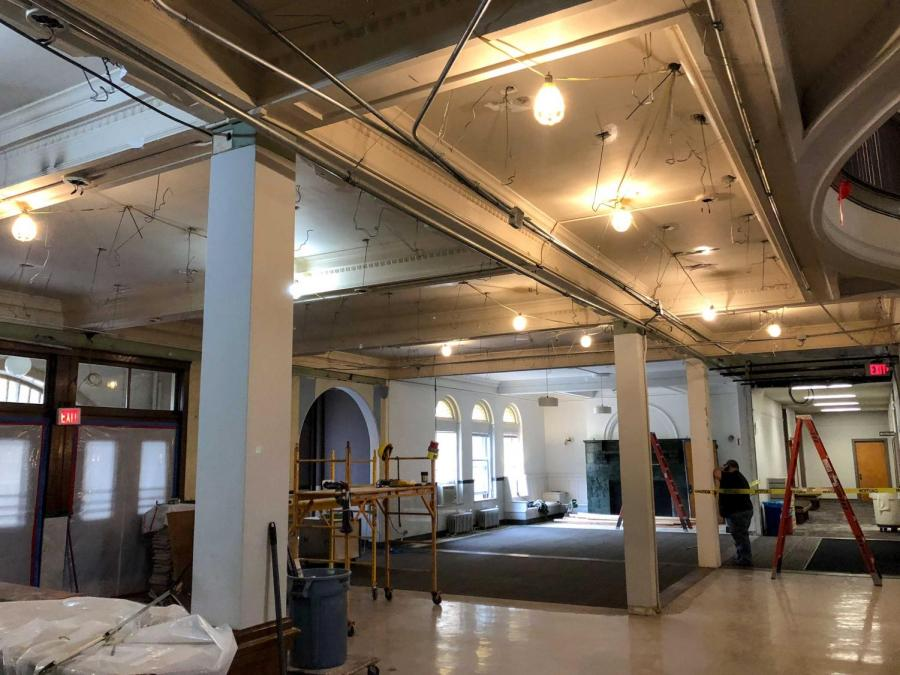 Wilder+Hall+lobby+was+renovated+over+Winter+Term.+The+space+had+numerous+walls+knocked+down+in+an+effort+to+give+students+more+community+spaces+to+engage+with.
