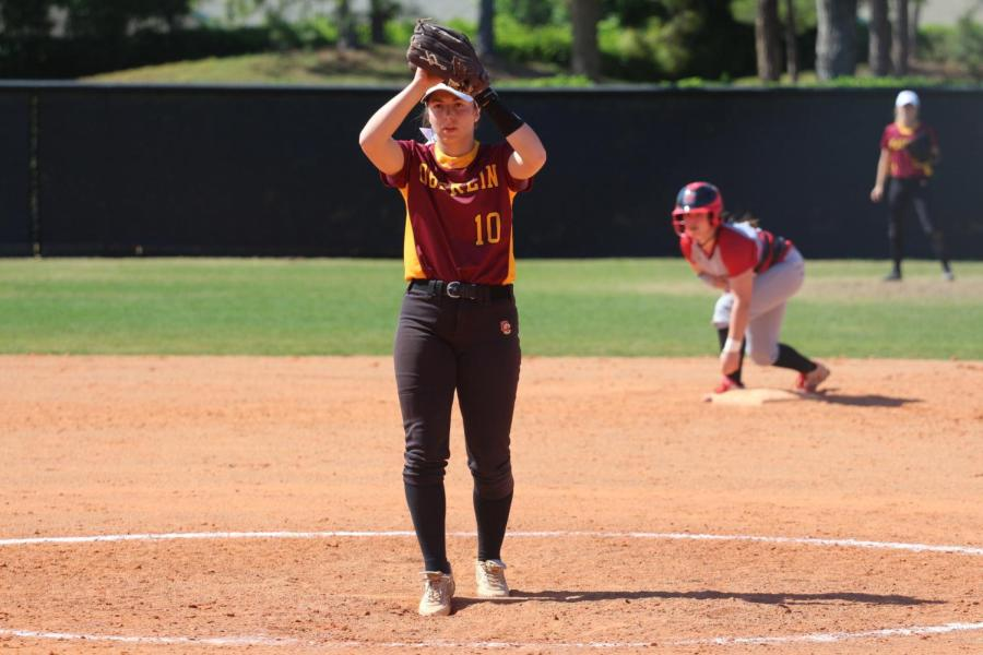 First-year+pitcher+Emily+Tucci+prepares+to+deliver+a+pitch+against+Grinnell+College+on+March+22.+Tucci+has+been+a+major+addition+to+the+softball+team%2C+boasting+a+team-low+2.72+ERA+in+13+appearances+and+adding+14+hits+and+three+home+runs+through+18+games.