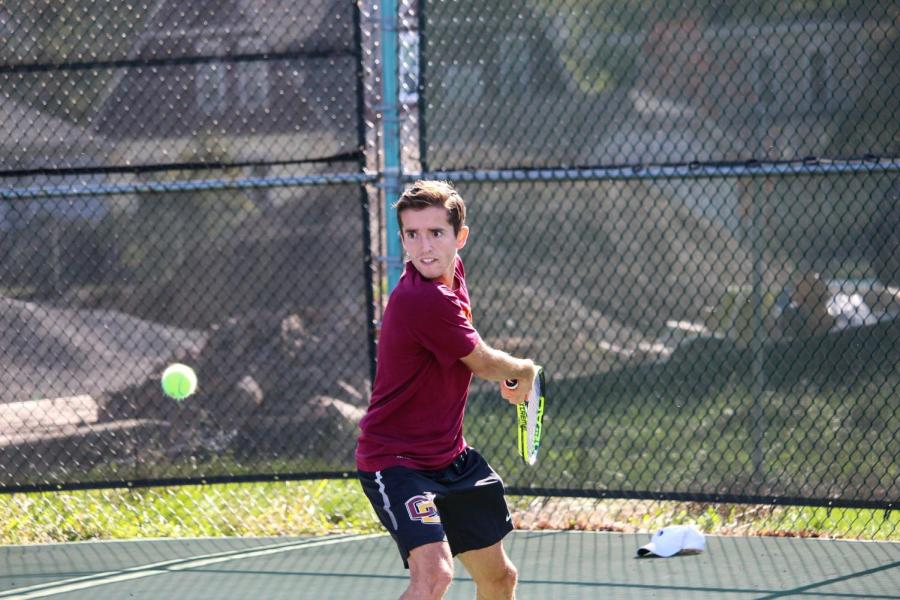 Senior+Michael+Drougas+celebrated+his+illustrious+collegiate+career+at+Senior+Day+last+Saturday+with+an+8%E2%80%931+victory+against+Ohio+Wesleyan+University.+Drougas+and+fellow+senior+Manickam+Manickam+sealed+an+8%E2%80%935+victory+at+No.+2+doubles.