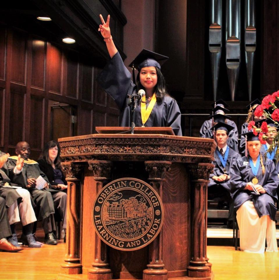 Claudia Olaes delivers her valedictorian speech during the graduation of the Class of 2018 from nearby Oberlin High School in Oberlin, Ohio. Olaes, a College first-year, has taken a leave of absence to run for state representative in Ohio's 56th District.