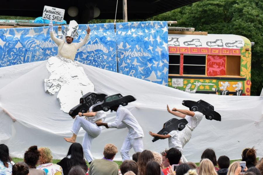 Puppeteers+from+the+Bread+and+Puppet+Theater+enact+a+scene+as+part+of+their+political+activism+performance+in+the+Grasshopper+Rebellion+Circus.+The+group+performed+at+the+Clark+Bandstand+in+Tappan+Square+Tuesday+afternoon.