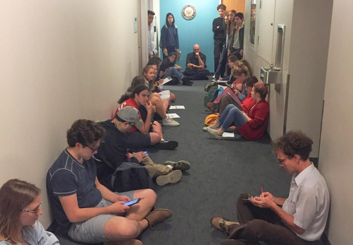 Students occupy Senator Rob Portman's office to prostest against the confirmation of Judge Brett Kavanaugh.