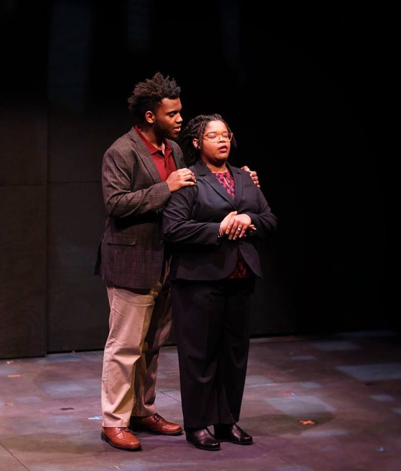 Jaris Owens and Ti Ames in rehearsal for the upcoming mainstage production of What We Look Like, directed by Professor of Theater and Africana Studies Caroline Jackson-Smith. The play, written by B.J. Tindal, 'OC 16, follows a Black family moving into the white suburbs. How will the Hodges family contend with this change, especially after eight-year-old Tommy comes home with a picture he drew of his imaginary white family? The show runs from Thursday, Feb. 7 through this Sunday, Feb. 10 at the new Irene and Alan Wurtzel Theater. Tickets are $8.