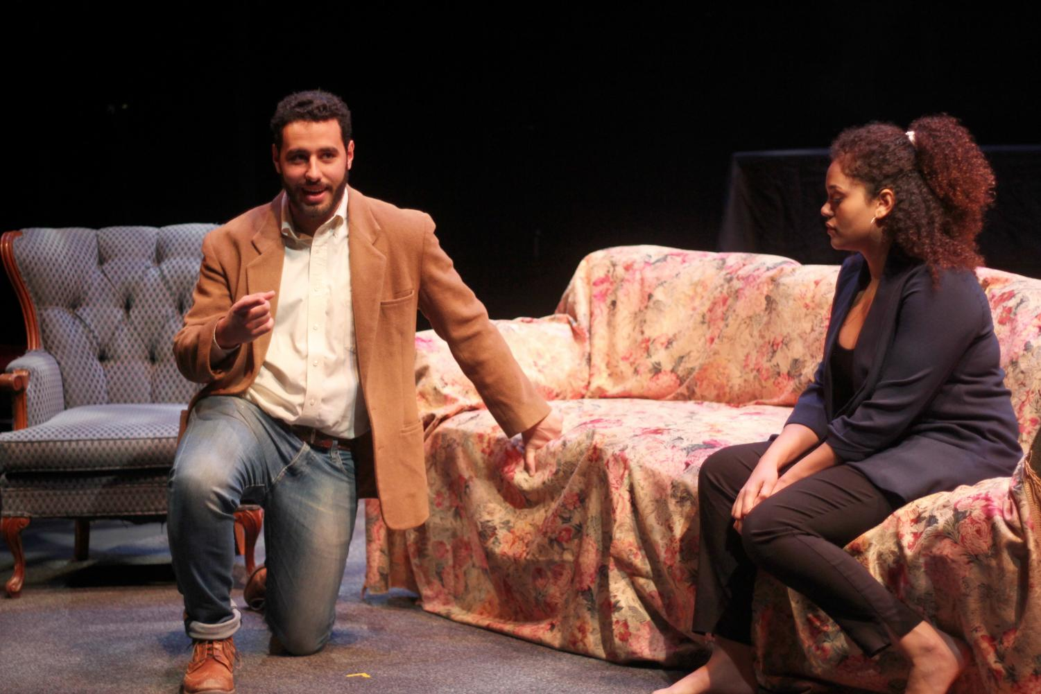 College seniors Rashad Saleh and Imke Hart perform in Jad Kaiss' senior production Ana La Habibi, which opened on Tuesday.