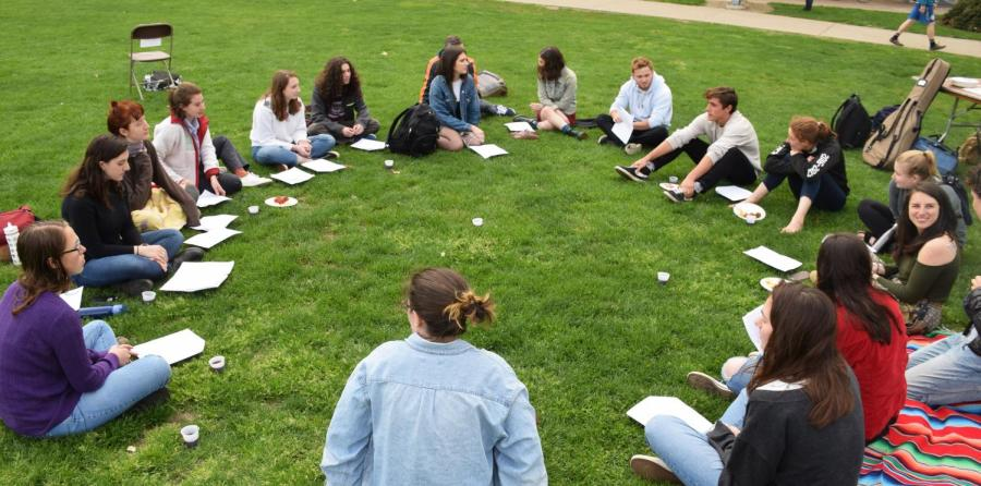 Members+of+J+Street+U+Oberlin%2C+a+pro-peace%2C+anti-occupation+group%2C+gathered+in+Wilder+Bowl+for+a+Sunset+Seder+on+April+24.+The+group+is+a+part+of+a+nationwide+effort+to+fight+for+a+two-state+resolution+to+the+Israeli-Palestininan+conflict+and+to+educate+fellow+students+on+the+issues+surrounding+the+conflict.+The+Sunset+Seder+was+an+act+of+community+and+activism.%E2%80%9CIt+is+both+an+action+and+an+event%2C+to+demonstrate+the+importance+of+connecting+our+anti-occupation+politics+to+our+Judaism+and+to+celebrate+in+community+with+each+other%2C%E2%80%9D+wrote+College+senior+and+J+Street+U+member+Yael+Reichler+in+an+email+to+the+Review.+%E2%80%9CIt+is+also+connected+to+our+current+campaign+working+toward+Israel%2FPalestine+trips+that+acknowledge+Palestinians+and+the+occupation.%E2%80%9D
