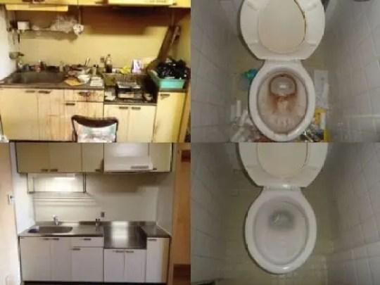 キッチンとトイレの特殊清掃 ビフォーアフター比較