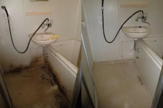 バスルームの特殊清掃 ビフォーアフター