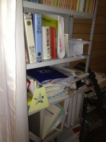 引越後、そのままの状態の本棚
