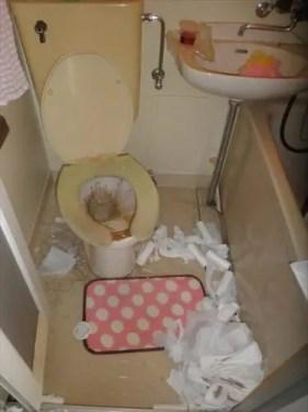 西淀川区内のゴミ屋敷になったトイレの様子