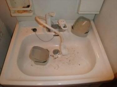 長年そうじもせずに、放置されてきた洗面器