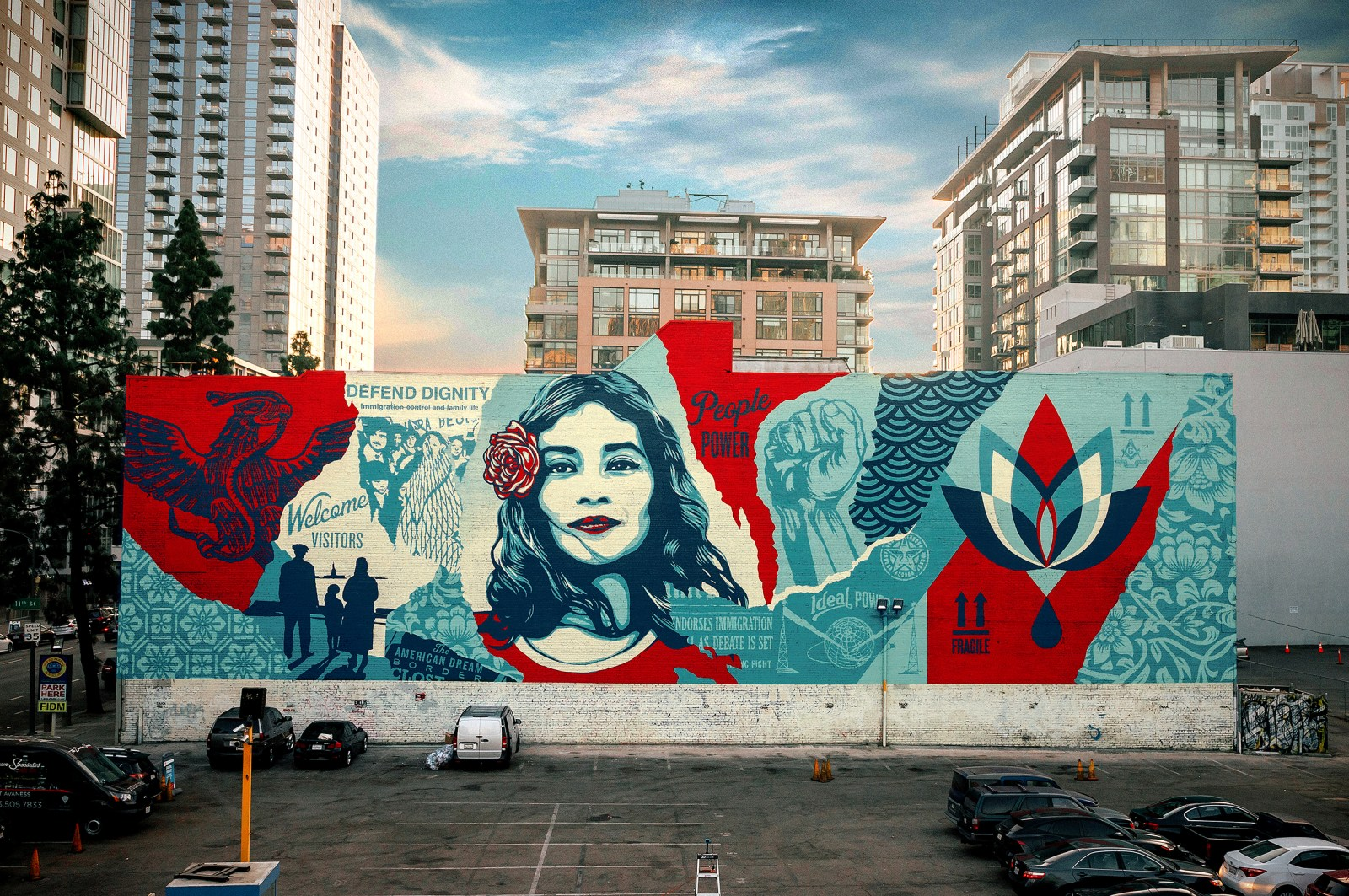 Street art called Defend Dignity by Shepard Fairey in Downtown LA