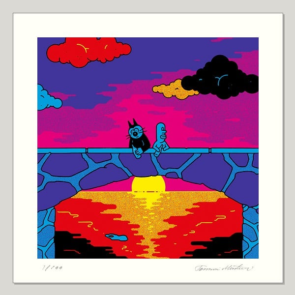 #samuel #klaskatt #sunset #drinkingbuddies #friendship #samuelcomic Klas and Samuel and their habits. Made with permission from Gunnar. And this one as well 20 x 20 cm, printed with three neon colors and black, serigraphy with edition of 100. http://www.obeysamuel.com/shop