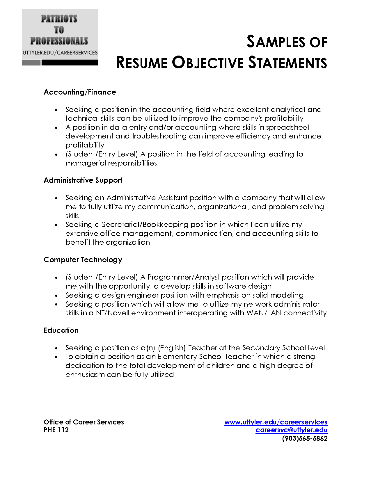 Should Resumes Have An Objective Resume Objective Statement