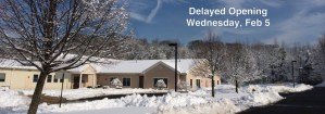 Good Shepherd Children's Center, Old Bridge will have a delayed opening on Wed, Feb 5 because of predicted weather conditions.